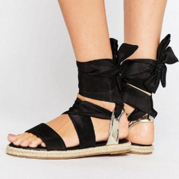 baee84619b4e ASOS Julia Tie Leg Black Espadrilles Sandals NWT